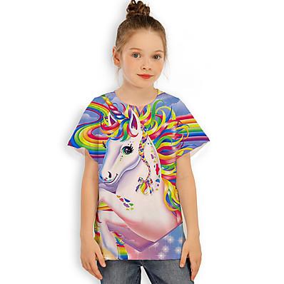 abordables ENFANTS-Enfants Fille T-shirt Tee-shirts Casual Cheval Unicorn Imprimé Graphique 3D Imprimé Manches Courtes Actif Arc-en-ciel 2-13 ans