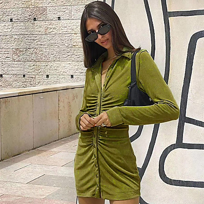 cheap Valentine's Gifts-Women's Sheath Dress Short Mini Dress Green Orange Long Sleeve Solid Color Ruched Patchwork Fall Shirt Collar Sexy Party Slim 2021 S M L