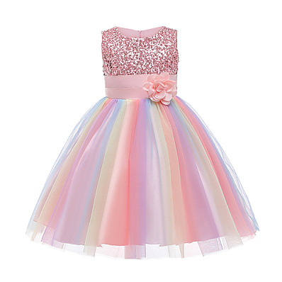 cheap Kids-Kids Little Girls' Dress Rainbow Flower Party Tutu Dresses Sequins Pleated Bow Blue Purple Blushing Pink Knee-length Sleeveless Active Cute Dresses Easter 2-12 Years