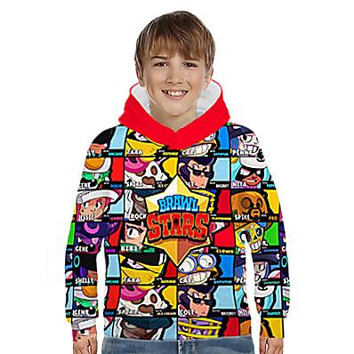 cheap Kids-Kids Boys' Hoodie & Sweatshirt Long Sleeve Anime Cartoon 3D Print Color Block Geometric Print Blue Purple Yellow Children Tops Basic Streetwear 3-12 Years