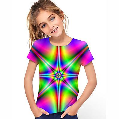 cheap Kids-Kids Girls' T shirt Short Sleeve 3D Print Rainbow Children Tops Summer Active Daily Wear Regular Fit 4-12 Years