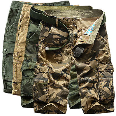 "cheap Camping, Hiking & Backpacking-Men's Hiking Shorts Hiking Cargo Shorts Military Camo Summer Outdoor 10"" Comfort Scratch-resistant Multi-Pockets Breathable Cotton Shorts Bottoms Yellow Army Green Khaki Green Camping / Hiking"
