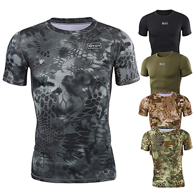 cheap Hunting & Nature-Men's Running T-Shirt Hunting T-shirt Tee shirt Camouflage Hunting T-shirt Camo Short Sleeve Outdoor Summer Ultra Light (UL) Ventilation Fast Dry Quick Dry Top Polyester Camping / Hiking Hunting