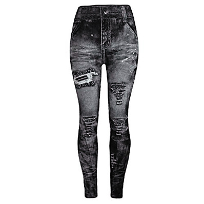 cheap Valentine's Gifts-jeggings high waist butt lift skinny style printing vintage pants leggings plus/junior size s-xl gray