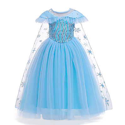 cheap Kids-Kids Little Girls' Dress Solid Colored Snowflake Flower Tulle Dress Birthday Party Sequins Patchwork Full Length Blue Maxi Short Sleeve Elegant Cosplay Costumes Dresses Regular Fit