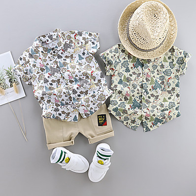 cheap Boys' Clothing-Toddler Boys' Clothing Set Casual Holiday White Print Floral Patchwork Print Short Sleeve Basic Regular Above Knee Regular White Green 2-4 Years