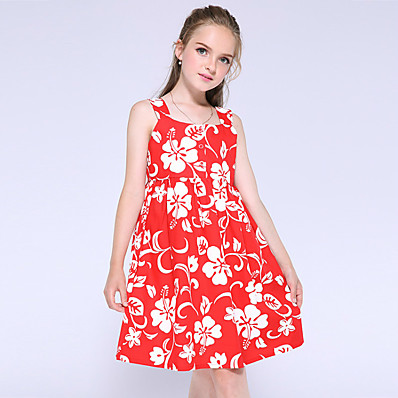 cheap Kids-Kids Little Girls' Dress Flower Holiday Print Red Knee-length Cotton Sleeveless Flower Dresses Summer New Year Regular Fit 5-13 Years