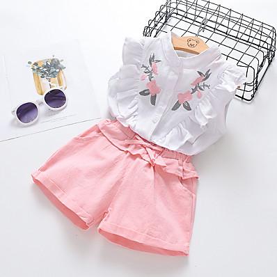 cheap Girls' Clothing-Kids Girls' Clothing Set Floral Print Sleeveless Active Basic White