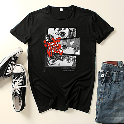 cheap Everyday Cosplay Anime Hoodies & T-Shirts-Inspired by Demon Slayer: Kimetsu no Yaiba Kamado Tanjirou Cosplay Costume T-shirt Polyester / Cotton Blend Graphic Prints Printing Harajuku Graphic T-shirt For Women's / Men's
