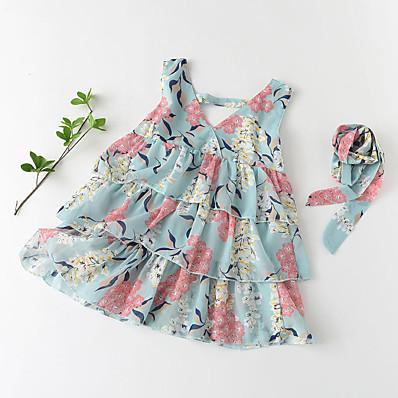 cheap Kids-Kids Little Girls' Dress Floral Graphic Ruffle Print Green Cotton Sleeveless Basic Cute Dresses Regular Fit