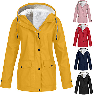 cheap Hunting & Nature-Women's Hooded Rain Jacket Outdoor Autumn / Fall Winter Thermal Warm Waterproof Windproof Sweat-Wicking Jacket Solid Color Fleece Camping / Hiking Hunting Blue Purple Yellow