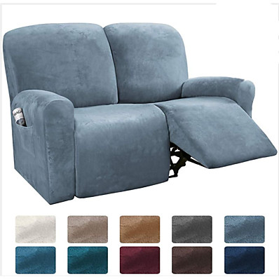 cheap Home Textiles-Sectional Recliner Sofa Slipcover 1 Set of 6 Pieces Microfiber Stretch High Elastic High Quality Velvet Sofa Cover Sofa Slipcover for 2 Seats Cushion Recliner Sofa