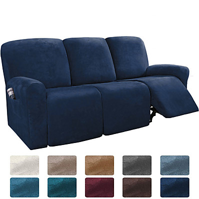 cheap Home Textiles-Sectional Recliner Sofa Slipcover 1 Set of 8 Pieces Microfiber Stretch High Elastic High Quality Velvet Sofa Cover Sofa Slipcover for 3 Seats Cushion Recliner Sofa Furniture Protector