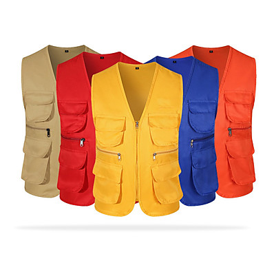 cheap Hunting & Nature-Women's Men's Military Tactical Vest Hunting Gilet Work Vest Outdoor Ventilation Multi-Pockets Quick Dry Front Zipper Summer Solid Colored Top Cotton Polyester Camping / Hiking Hunting Fishing Yellow