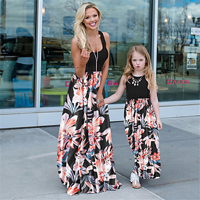 cheap Kids-Mommy and Me Dress Graphic Print Black Sleeveless Maxi Matching Outfits