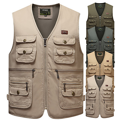 cheap Hunting & Nature-outdoor safari photographer's vest travel vest hiking vest fishing vest sports vest utility vest bird watching vest durable work vest keep all of your items within reach (tan, xl)