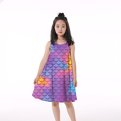 cheap Kids-Kids Little Girls' Dress Graphic Print Purple Knee-length Sleeveless Flower Active Dresses Regular Fit 5-12 Years