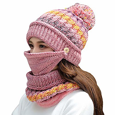 cheap Accessories-women girls knitted hat scarf mask set winter fleece lined beanie knit ear flaps hat with pompom (pink)
