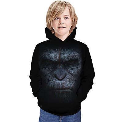 cheap Kids-Kids Boys' Hoodie & Sweatshirt Long Sleeve Orangutan Animal Print Black Children Tops All Seasons Active Regular Fit 4-12 Years