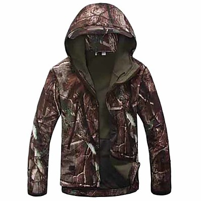 cheap Hunting & Nature-Men's Hoodie Camouflage Hunting Jacket Soft Shell Military Tactical Jacket Outdoor Thermal Warm Windproof Breathable Quick Dry Winter Camo / Camouflage Winter Jacket Coat Top Fleece Nylon