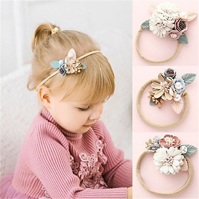 cheap Kids-Kids Baby Girls' Sweet Daily Wear Floral Floral Nylon Hair Accessories White Blushing Pink Dusty Rose One-Size