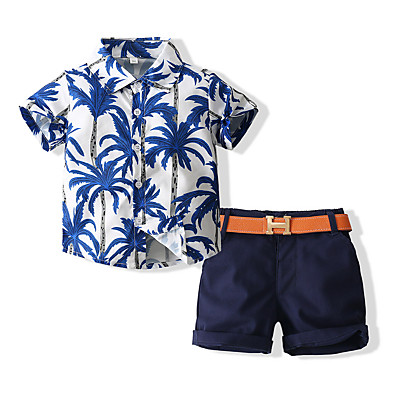 cheap Boys' Clothing-Kids Boys' Shirt & Shorts Clothing Set Tropical Leaf Print Graphic Palm Tree Short Sleeve 3 Pieces with Belt Casual / Daily Light Yellow Blue Basic Regular Above Knee Short 1-5 Years