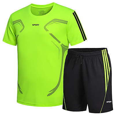 cheap Camping, Hiking & Backpacking-Men's T shirt Hiking Tee shirt with Shorts Short Sleeve Tee Tshirt Top Clothing Suit Outdoor Quick Dry Lightweight Breathable Sweat wicking Autumn / Fall Spring Summer Polyester fluorescent green
