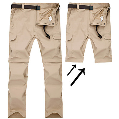cheap Camping, Hiking & Backpacking-Men's Hiking Pants Trousers Convertible Pants / Zip Off Pants Solid Color Summer Outdoor Waterproof Breathable Quick Dry Sweat-wicking Nylon Pants / Trousers Convertible Pants Bottoms Black Army