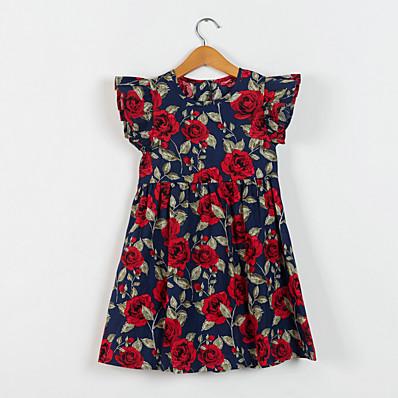 cheap Kids-Kids Little Girls' Dress Flower Rose Print Navy Blue Midi Cotton Regular Short Sleeve Flower Basic Dresses Fall Spring & Summer Children's Day Loose 2-12 Years