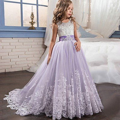 cheap Kids-Kids Little Girls' Dress Princess Formal Evening Wedding Party Pageant Flower Embroidery Bow White Purple Red Lace Tulle Maxi Sleeveless Elegant Vintage Ball Gown Dresses 4-13 Years