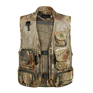 cheap Hunting & Nature-Men's Fishing Vest Hiking Vest Outdoor Spring Summer Multi-Pockets Wearable Breathable Comfortable Vest / Gilet Camo Solid Colored Mesh Polyester Army Green Dark Green Grey