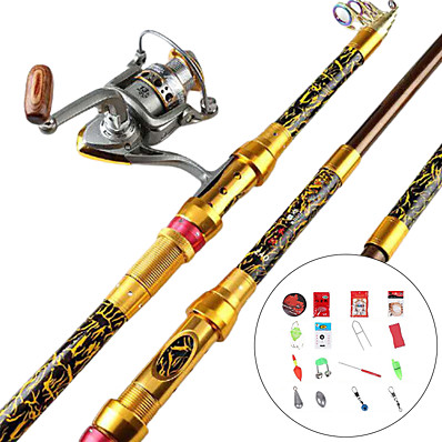 cheap Fishing-Fishing Rod and Reel Combo Telescopic Rod 100/120/150/170/190/210/230 cm Portable Lightweight Sea Fishing