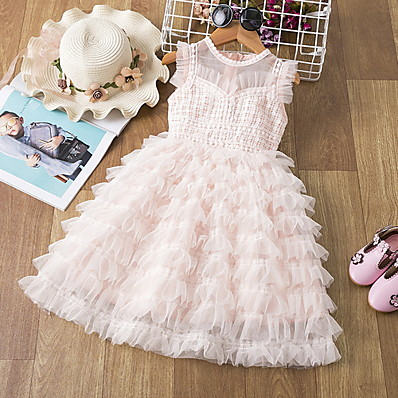 cheap Kids-Kids Little Girls' Dress Solid Colored Lace Trims Print White Blushing Pink Knee-length Sleeveless Active Dresses Summer Regular Fit 5-12 Years