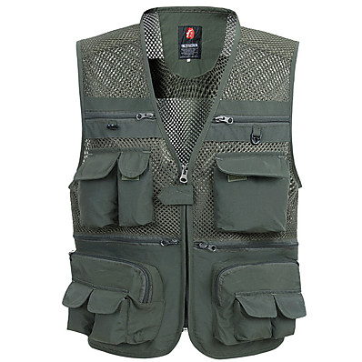 cheap Hunting & Nature-Men's Hunting Gilet Outdoor Spring Summer Fast Dry Multi-Pockets Wearable Breathable Solid Colored Polyester Army Green Grey Khaki