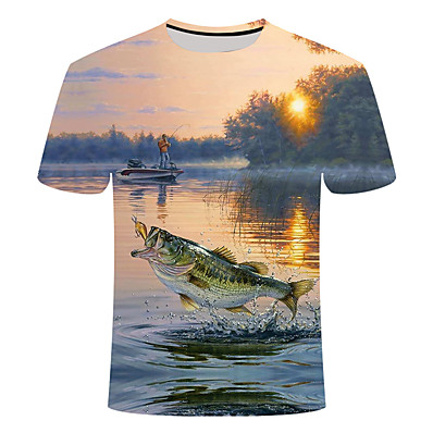 cheap Fishing-Men's Fishing Shirt Outdoor Quick Dry Lightweight Breathable UV Protection Top Summer Sports & Outdoor Athleisure Fishing Light Green Dark Green Blue / Short Sleeves / Stretchy