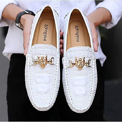 cheap Shoes & Bags-Men's Loafers & Slip-Ons Dress Shoes Casual Daily Office & Career PU Wear Proof White Black Silver Fall