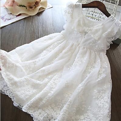 billige Børn-Børn Lille Pige Kjole Ensfarvet Blonder Trykt mønster Hvid Gul Knælang Uden ærmer Aktiv Kjoler Sommer Regulær 5-12 år