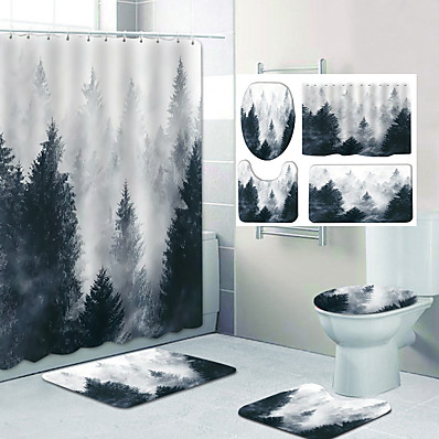 cheap Bath Accessories-Forest in The Mist Pattern Printing Bathroom Shower Curtain Leisure Toilet Four-Piece Design