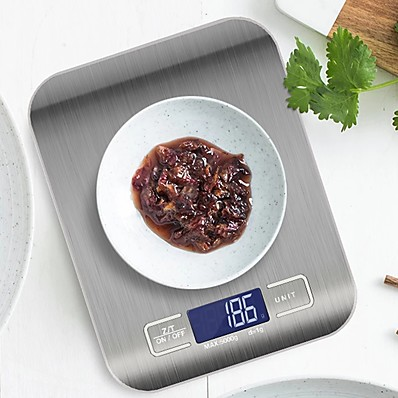 cheap Kitchen & Dining-5kg Kitchen Scale Stainless Steel Weighing Scale Food Diet Postal Balance Measuring LCD Electronic Scales