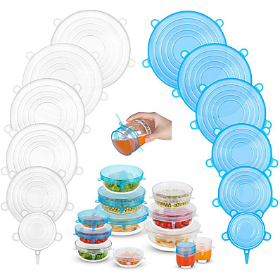 cheap Kitchen & Dining-Silicone Stretch Lids 2 Color 24 Packs Zero Waste Reusable Silicon Container Lid for Cover Leftover Food and Fruit or Seal Bowl 6 12 Packs