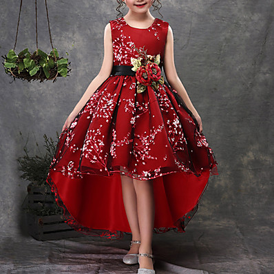 cheap Girls' Clothing-Kids Little Dress Girls' Floral Embroidered Party Wedding Performance Green Red Cotton Sleeveless Party Dresses 3-13 Years
