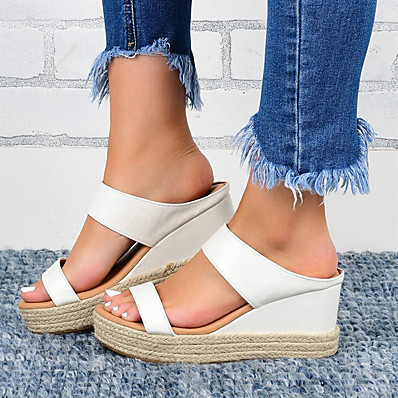 cheap Shoes-Sandals for Women Wedge Heel Sandals Comfortable Platform Sandals Straw Sandal Casual Daily White Black
