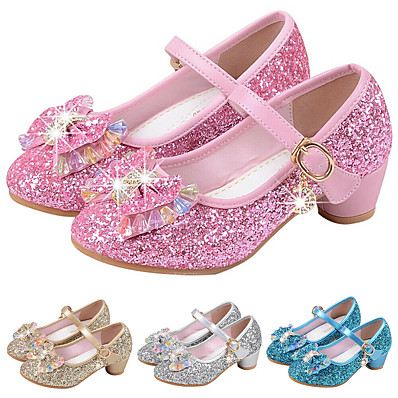 cheap Shoes & Bags-Girls' Heels Party Mary Jane Basic Pump PU Little Kids(4-7ys) Big Kids(7years +) Dress Crystal Bowknot Blue Pink Gold Spring & Summer