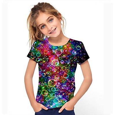 cheap Kids-Kids Girls' Tee Short Sleeve Graphic Rainbow Children Tops Active 3-12 Years