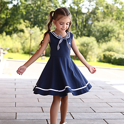 preiswerte KINDER-Kinder Wenig Mädchen Kleid Gestreift Volltonfarbe Skater-Kleid Schultaschen Normal Schleife Marineblau Knielang nette Art Kleider Kindertag Sommer Normale Passform 3-13 Jahre