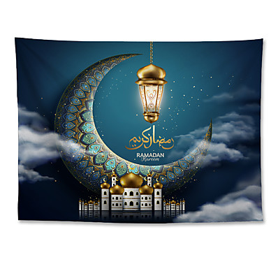 cheap Wall Hangings-Eid Mubarak Islamic Muslim Ramadan Wall Tapestry Art Decor Blanket Curtain Hanging Home Bedroom Living Room Decoration Polyester Moon Lantern Cloud