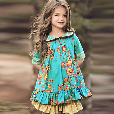 cheap Girls' Clothing-Kids Little Dress Girls' Floral Casual Green Knee-length Cotton Half Sleeve Chinoiserie Cute Boho Dresses Regular Fit