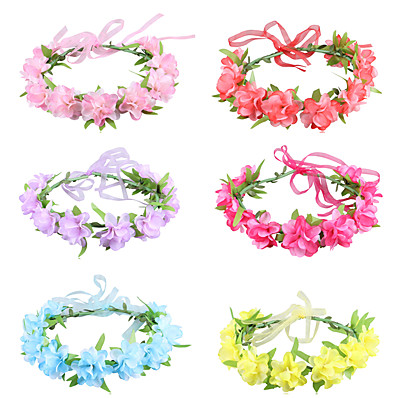 cheap Kids' Accessories-1pcs Kids / Toddler Girls' Active / Sweet Party / Birthday / Daily Blue / Red Floral Floral Style Polyester Hair Accessories Blue / Purple / Red One-Size Fit In Mermaid Swimwear