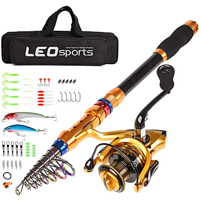 cheap Fishing-Telescopic Fishing Rod and Reel Combo Carbon Fiber Fishing Pole and Reel with Lures Tackle Hooks Carrier Bag 1.8/2.1/2.4/2.7/3.0/3.6m for Sea Fishing Saltwater and Freshwater