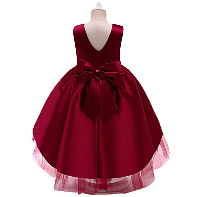cheap Kids-Kids Little Girls' Dress Solid Colored Party Birthday Party Layered Mesh Train Blue Blushing Pink Wine Asymmetrical Sleeveless Princess Cute Dresses All Seasons Children's Day Slim 3-10 Years